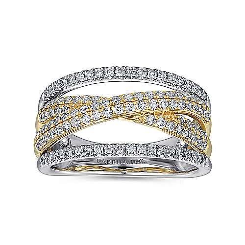 14k Yellow And White Gold Lusso Twisted Ladies' Ring angle 4