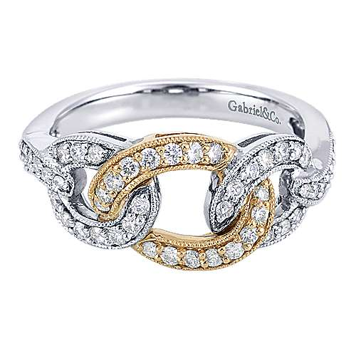 Gabriel - 14k Yellow And White Gold Lusso Twisted Ladies' Ring