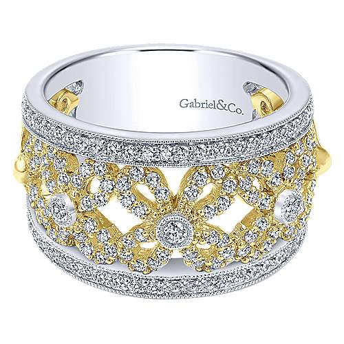 14k Yellow And White Gold Lusso Wide Band Ladies' Ring angle 1