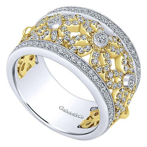 14k Yellow And White Gold Lusso Wide Band Ladies' Ring angle 3