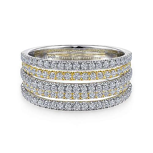 14k Yellow And White Gold Lusso Wide Band Ladies' Ring