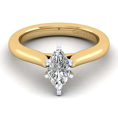 Gabriel - 14k Yellow And White Gold Marquise  Solitaire Engagement Ring