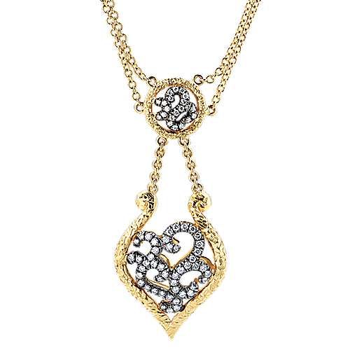 Gabriel - 14k Yellow And White Gold Mediterranean Fashion Necklace