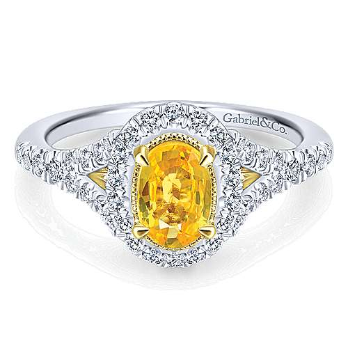 14k Yellow And White Gold Oval Halo Engagement Ring angle 1