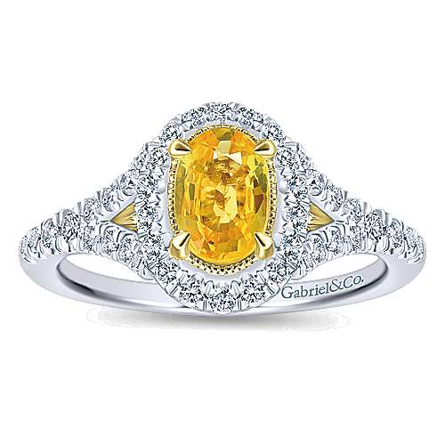 14k Yellow And White Gold Oval Halo Engagement Ring angle 5