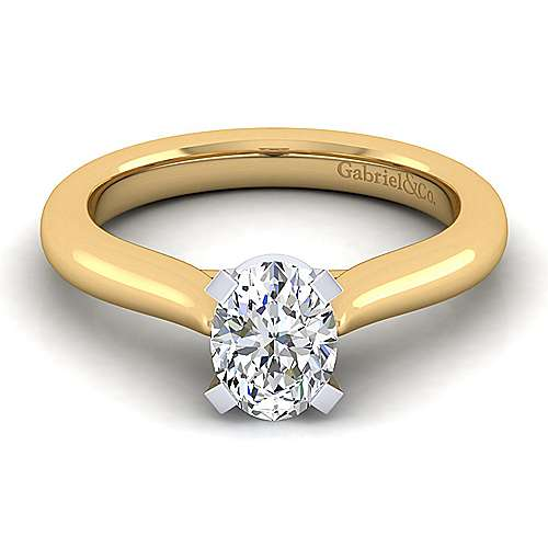 Gabriel - 14k Yellow And White Gold Oval Solitaire Engagement Ring