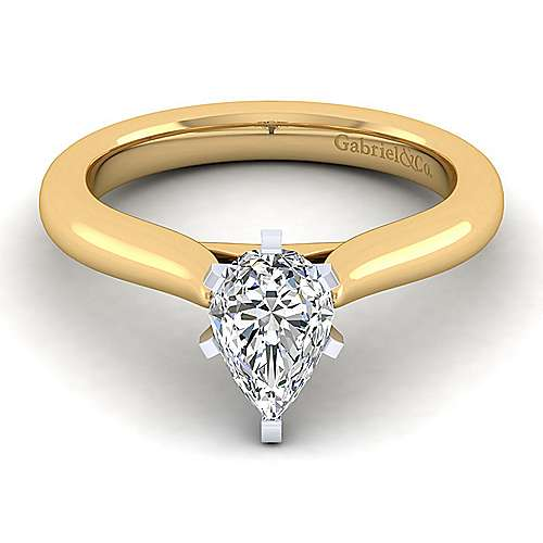 Gabriel - 14k Yellow And White Gold Pear Shape Solitaire Engagement Ring