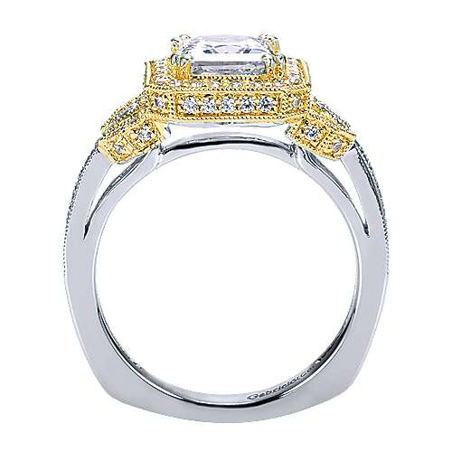 14k Yellow And White Gold Princess Cut Halo Engagement Ring angle 2