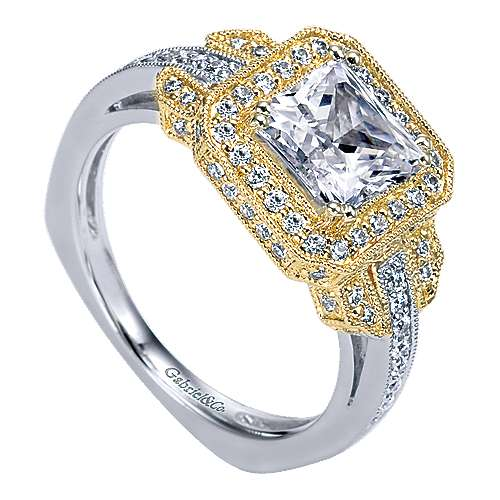 14k Yellow And White Gold Princess Cut Halo Engagement Ring angle 3