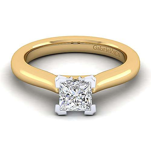 Gabriel - 14k Yellow And White Gold Princess Cut Solitaire Engagement Ring