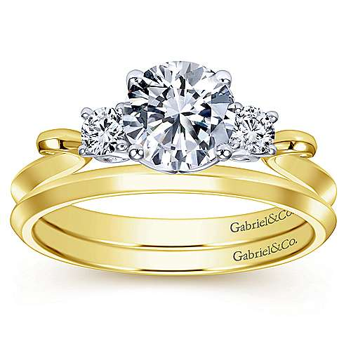 14k Yellow And White Gold Round 3 Stones Engagement Ring