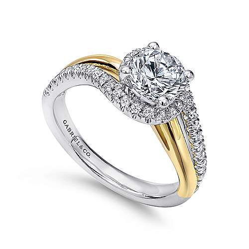 14k Yellow And White Gold Round Bypass Engagement Ring angle 3