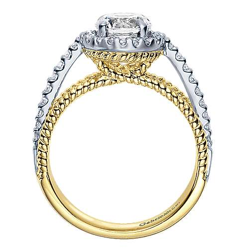 14k Yellow And White Gold Round Halo Engagement Ring angle 2