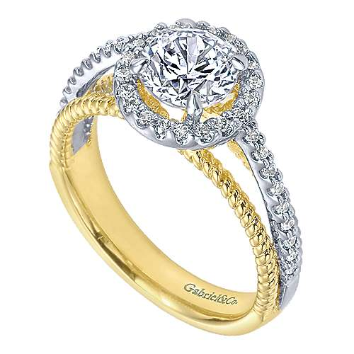 14k Yellow And White Gold Round Halo Engagement Ring angle 3