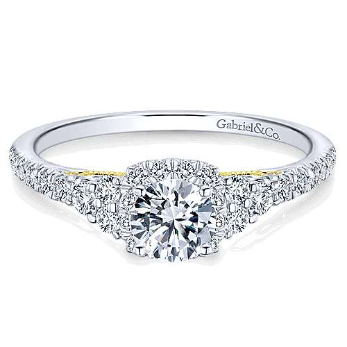 Gabriel - 14k Yellow And White Gold Round Halo Engagement Ring