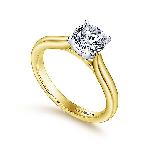 14k Yellow And White Gold Round Solitaire Engagement Ring