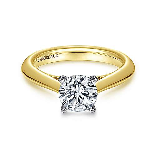 Gabriel - 14k Yellow And White Gold Round Solitaire Engagement Ring