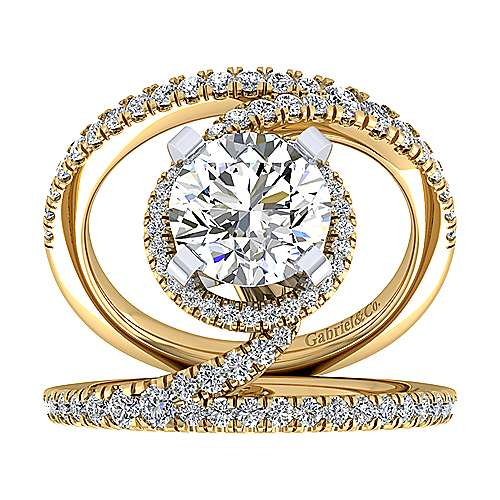 14k Yellow And White Gold Round Split Shank Engagement Ring angle 5