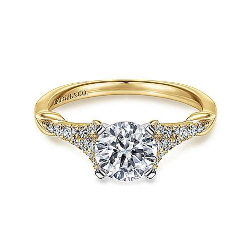 14k Yellow And White Gold Round Straight Engagement Ring angle 1