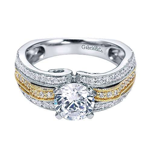 Gabriel - 14k Yellow And White Gold Round Straight Engagement Ring