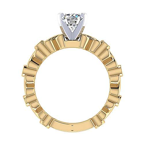 14k Yellow And White Gold Round Straight Engagement Ring angle 2