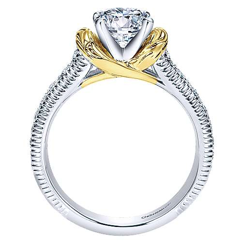 14k Yellow And White Gold Round Straight Engagement Ring
