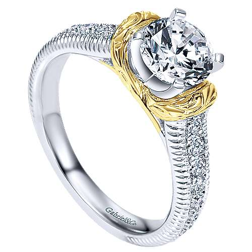 14k Yellow And White Gold Round Straight Engagement Ring angle 3