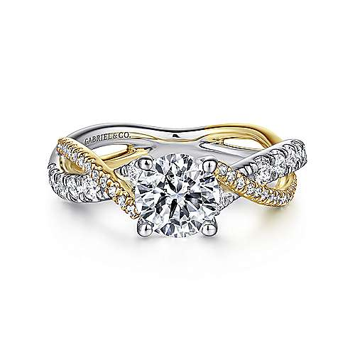 Gabriel - 14k Yellow And White Gold Round Twisted Engagement Ring