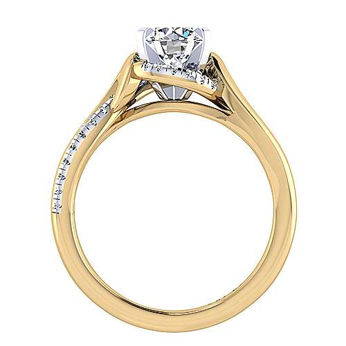 14k Yellow And White Gold Round Twisted Engagement Ring angle 2