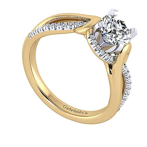 14k Yellow And White Gold Round Twisted Engagement Ring angle 3