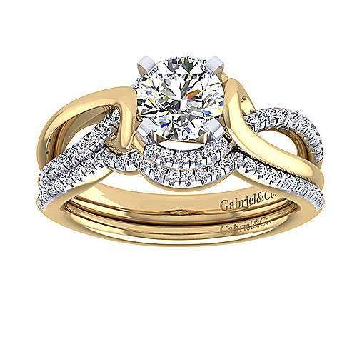 14k Yellow And White Gold Round Twisted Engagement Ring