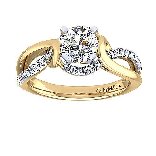 14k Yellow And White Gold Round Twisted Engagement Ring angle 5