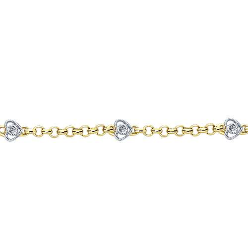 14k Yellow And White Gold Secret Garden Chain Bracelet angle 2