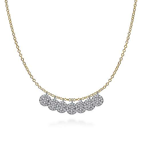 14k Yellow And White Gold Silk Fashion Necklace angle 1