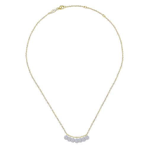 14k Yellow And White Gold Silk Fashion Necklace angle 2