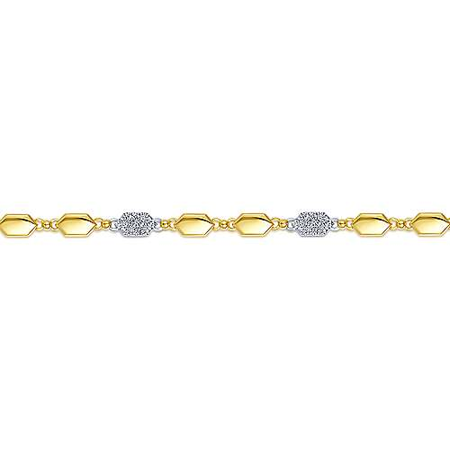 14k Yellow And White Gold Silk Tennis Bracelet angle 2