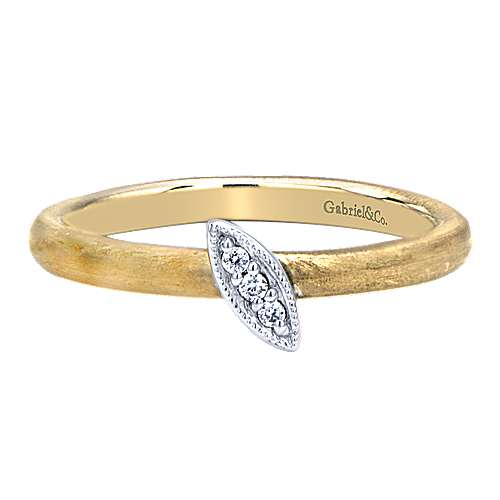 Gabriel - 14k Yellow And White Gold Stackable Ladies' Ring