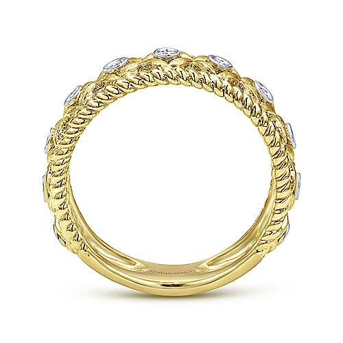 14k Yellow And White Gold Stackable Ladies' Ring angle 2