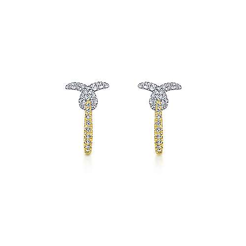 14k Yellow And White Gold Stuggies Huggie Earrings angle 3