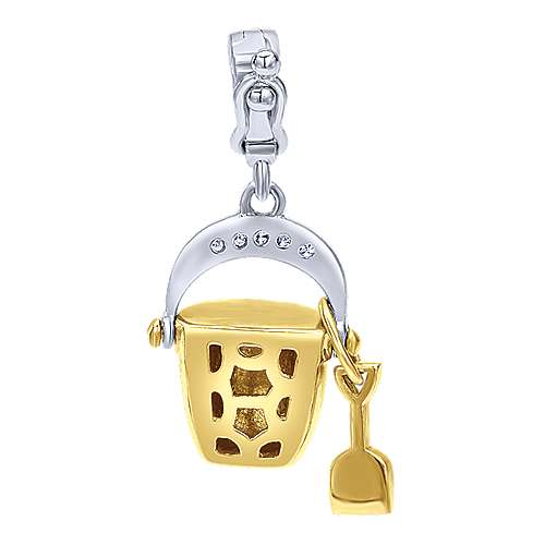 14k Yellow And White Gold Treasure Chests Charm Pendant angle 2