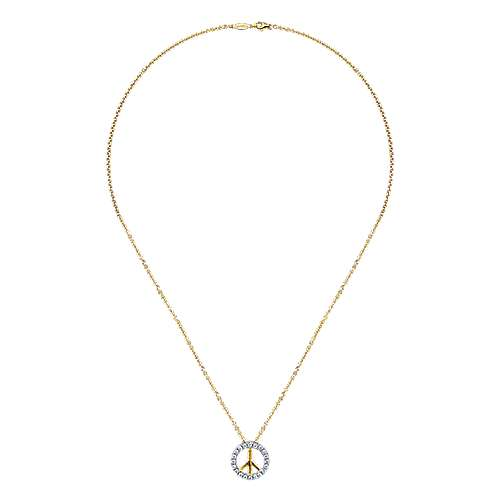 14k Yellow And White Gold Trends Fashion Necklace angle 2