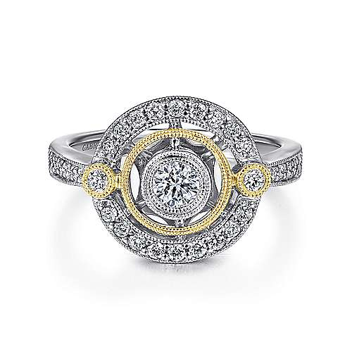 14k Yellow And White Gold Victorian Classic Ladies' Ring angle 1