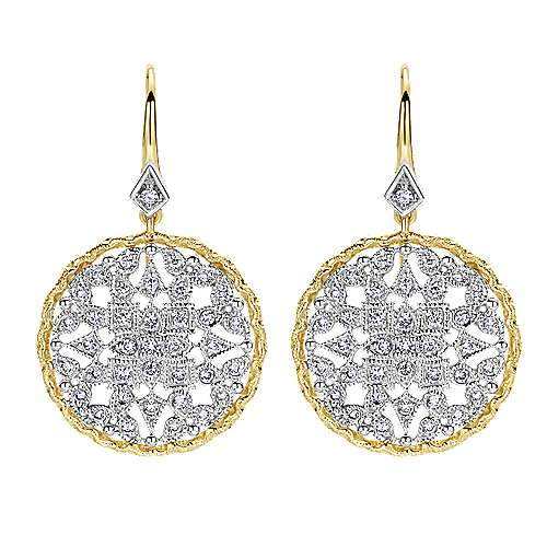 Gabriel - 14k Yellow And White Gold Victorian Drop Earrings