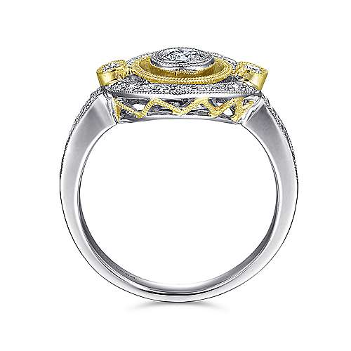 14k Yellow And White Gold Victorian Fashion Ladies' Ring angle 2