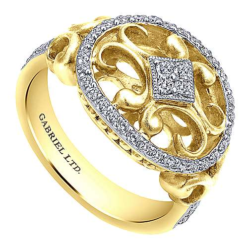14k Yellow And White Gold Victorian Fashion Ladies' Ring angle 3