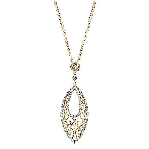 14k Yellow And White Gold Victorian Fashion Necklace angle 1