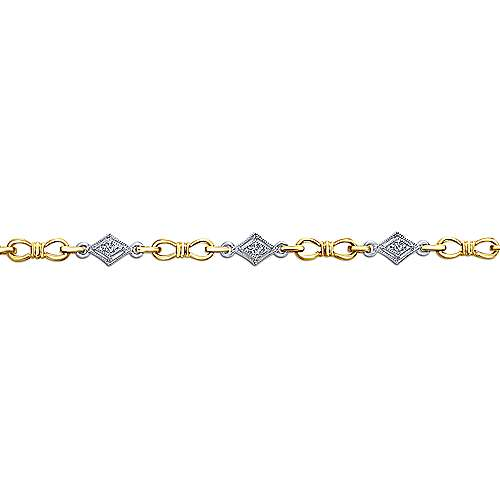 14k Yellow And White Gold Victorian Tennis Bracelet angle 2