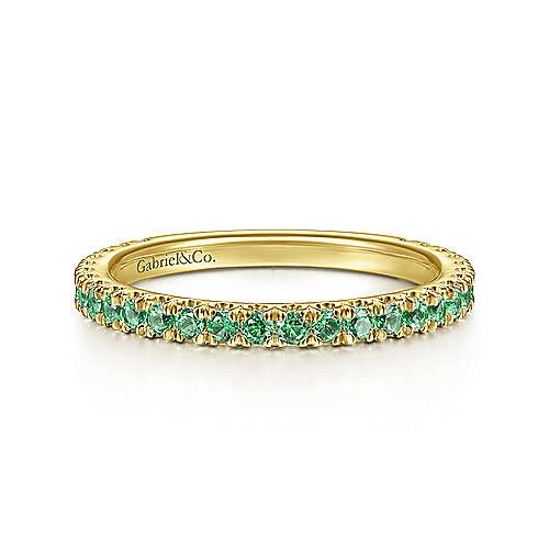 14k Yellow Gold  And Emerald Stackable