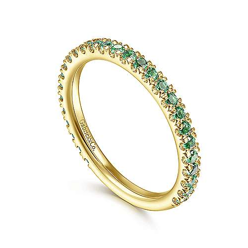 14k Yellow Gold  And Emerald Stackable Ladies