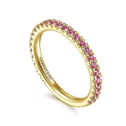 14k Yellow Gold  And Ruby Stackable Ladies